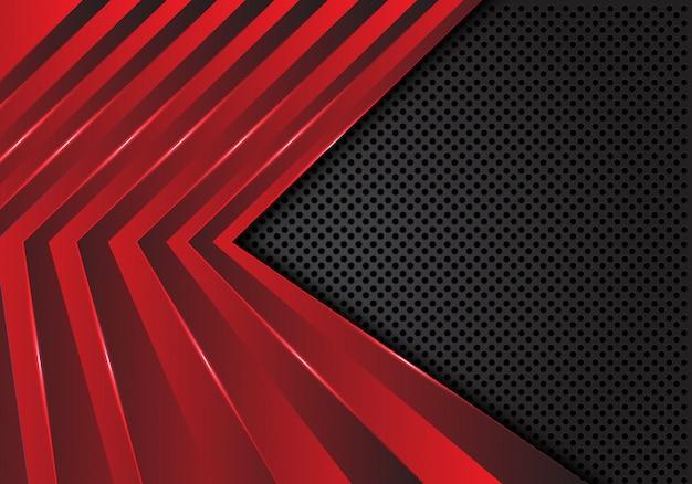 Motif flèche rouge sur fond de maille de cercle gris foncé.