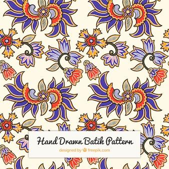 Motif fleur batik hand drawn
