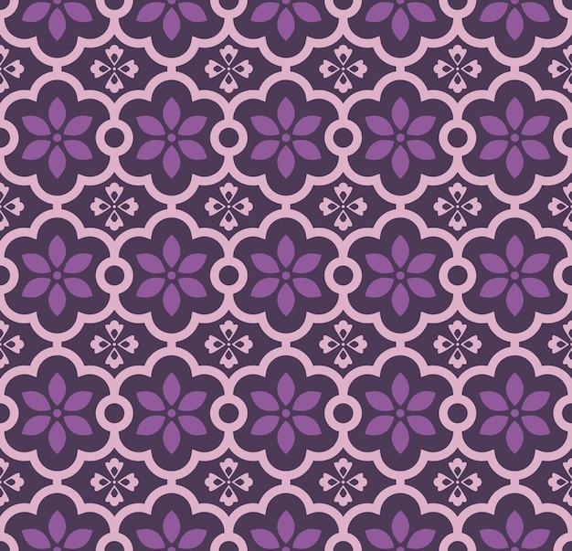 Motif de fleur de cadre croisé courbe ronde violette