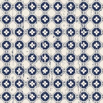Motif de fleur de polygone vintage sans soudure usé