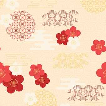 Motif de fleur de prunier géométrique vintage
