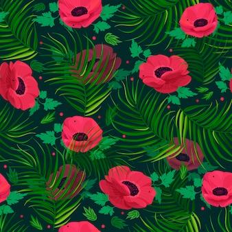 Motif de fleurs d'anémone.