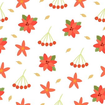 Motif de fleurs et de baies de noël