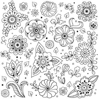 Motif de fleurs carrées de contour dans le style mehndi