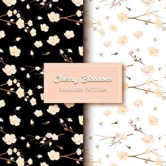 Motif de fleurs de cerisier noir et blanc