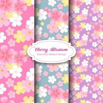 Motif de fleurs de cerisier en rose et violet