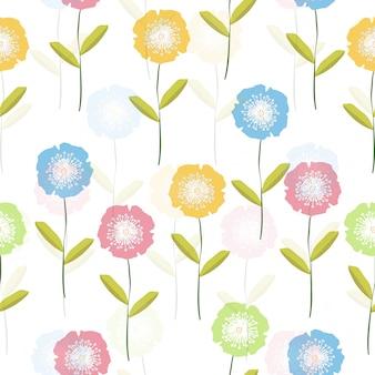 Motif de fleurs colorées mignon sans soudure