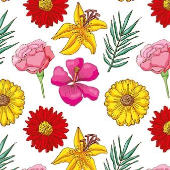 Motif de fleurs dessiné à la main.