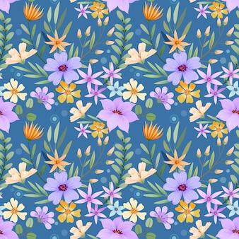 Motif de fleurs dessinées à la main coloré.