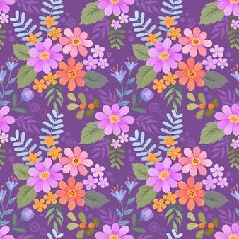 Motif de fleurs dessinées à la main colorée