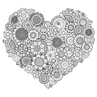 Motif de fleurs doodle en forme de coeur.