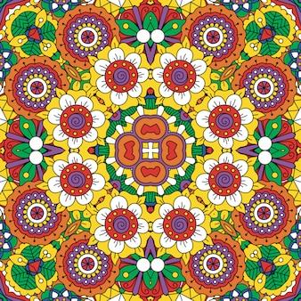 Motif de fleurs ethnique style mandala lumineux