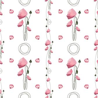 Motif de fleurs et de feuilles d'été sans couture coquelicots rouges délicats et pétales avec boucles