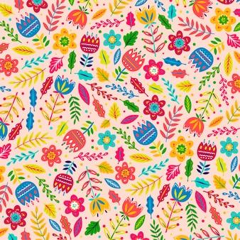 Motif de fleurs et de feuilles exotiques peintes à la main colorées