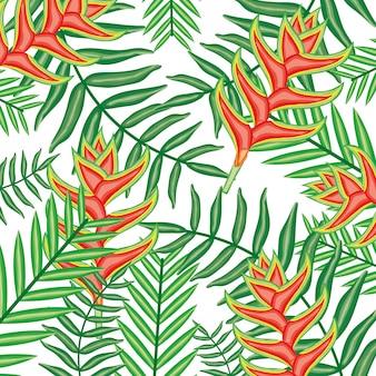 Motif de fleurs et feuilles de heliconias tropical