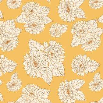 Motif de fleurs de jardin d'automne