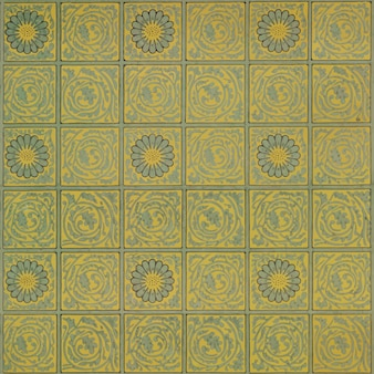 Motif de fleurs jaunes au carré vintage