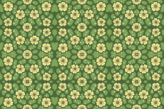 Motif à fleurs jaunes sur fond vert