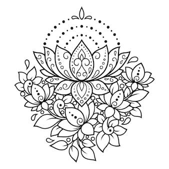 Motif de fleurs de lotus mehndi pour le dessin et le tatouage au henné. décoration de style oriental, indien. ornement de griffonnage. décrire l'illustration vectorielle de tirage à la main.