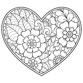 Motif de fleurs mehndi en forme de coeur. décoration en style ethnique oriental, indien.