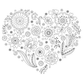 Motif de fleurs mehndi en forme de coeur. décoration de style ethnique oriental, indien.
