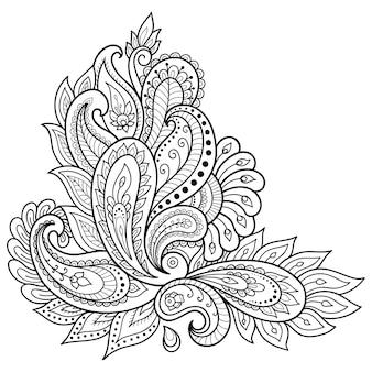 Motif de fleurs mehndi et mandala. décoration de style ethnique oriental, indien. ornement de griffonnage. décrire l'illustration de dessin à la main.