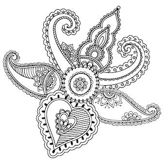 Motif de fleurs mehndi pour illustration au henné