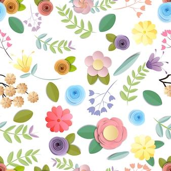 Motif de fleurs de papier de métier sans soudure isolé sur fond blanc, embellissement décoratif.