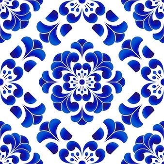 Motif de fleurs en porcelaine bleue et blanche à la chinoise et japonaise, seamles floraux en céramique