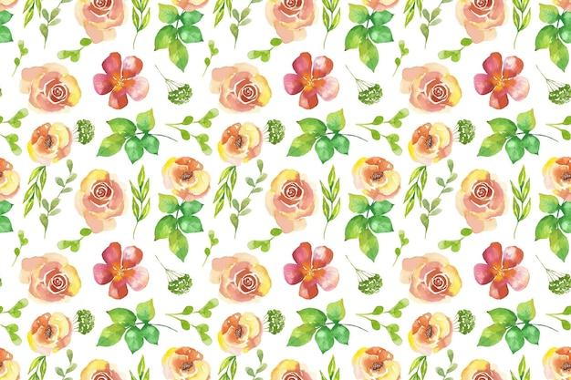 Motif de fleurs pressées aquarelle peint à la main