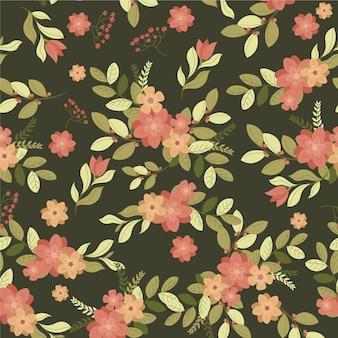 Motif de fleurs pressées design plat organique