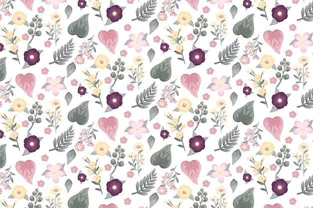 Motif de fleurs pressées dessinés à la main