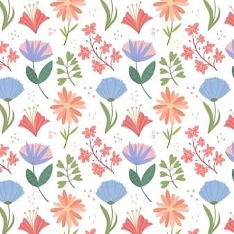 Motif de fleurs pressées à plat bio