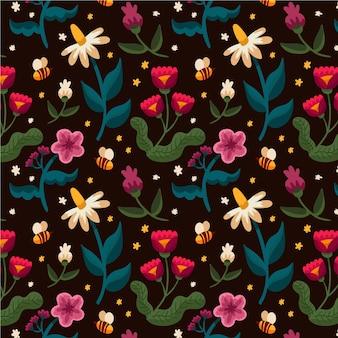 Motif de fleurs pressées