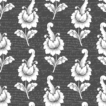 Motif de fleurs avec texte ancien. motif floral à l'ancienne de luxe classique.