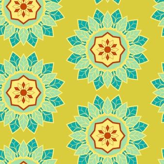 Motif de fleurs vert mandala