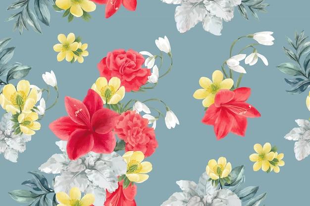 Motif de floraison hivernale avec pivoine, lis, galanthus, anémone