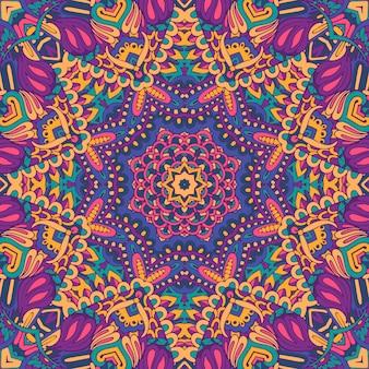 Motif floral abstrait festif tribal ethnique coloré. bordure de cadre mandala géométrique