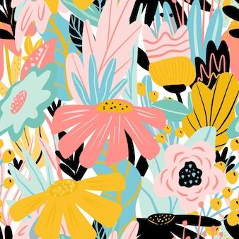 Motif floral abstrait fleurs et feuilles peintes à la main sur fond blanc