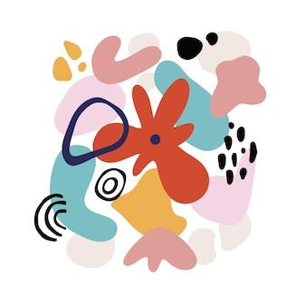 Motif floral abstrait avec des formes géométriques, des taches et des motifs tropiques. imprimé graphique lumineux avec des formes modernes et des éléments floraux. illustration de style de collage de vecteur. fond de fleur à la mode.