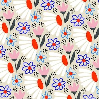 Motif Floral Abstrait Peint à La Main Vecteur gratuit