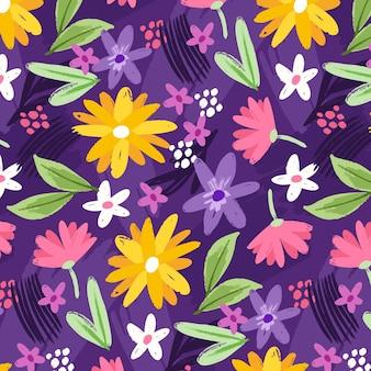 Motif floral abstrait peint à la main