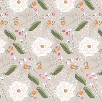 Motif floral abstrait plat organique