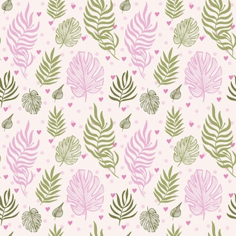 Motif floral abstrait sans couture de feuilles de monstera feuilles tropicales couleur rose et verte