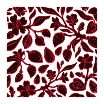 Motif floral d'amande. noix bio, plante. illustration graphique
