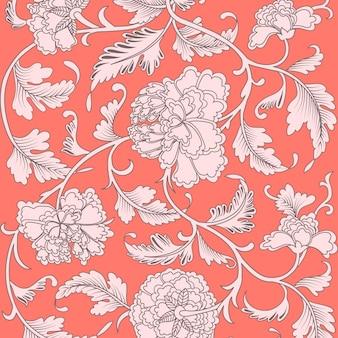 Motif floral antique de beau corail ornemental