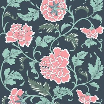 Motif floral antique coloré ornemental.