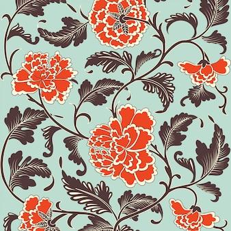 Motif floral antique de couleur ornementale.