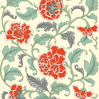 Motif floral antique de couleur ornementale