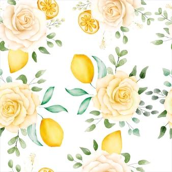 Motif floral aquarelle avec des citrons